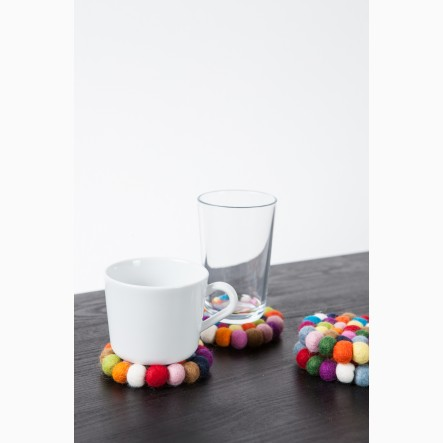 myfelt Glass Coaster, round, made of colourful felt balls, Ø 9 cm