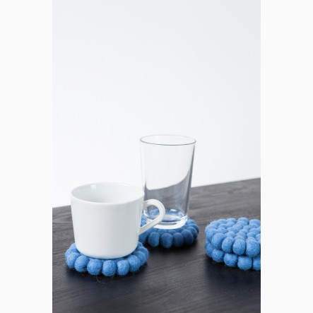 myfelt Glass Coaster, round, made of blue felt balls, Ø 9 cm