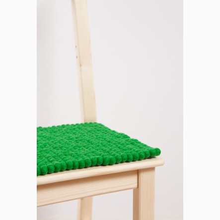 myfelt green Seat Pad made of felt balls, square, 36 x 36  cm