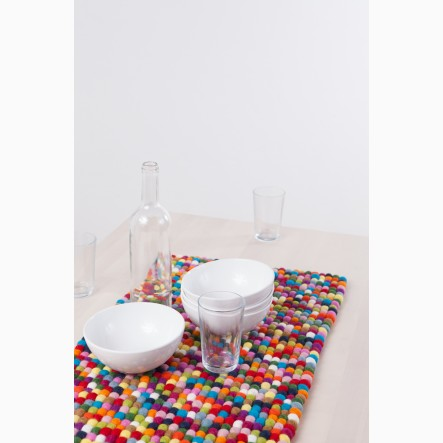 myfelt Table Runner in colourful felt balls, 40 x 70 cm