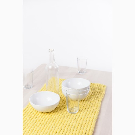 myfelt Table Runner from yellow felt balls, 40 x 70 cm