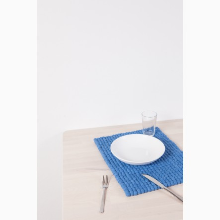 myfelt Mavi Felt Ball-Table Mat blue, rectangular, 35 x 45 cm